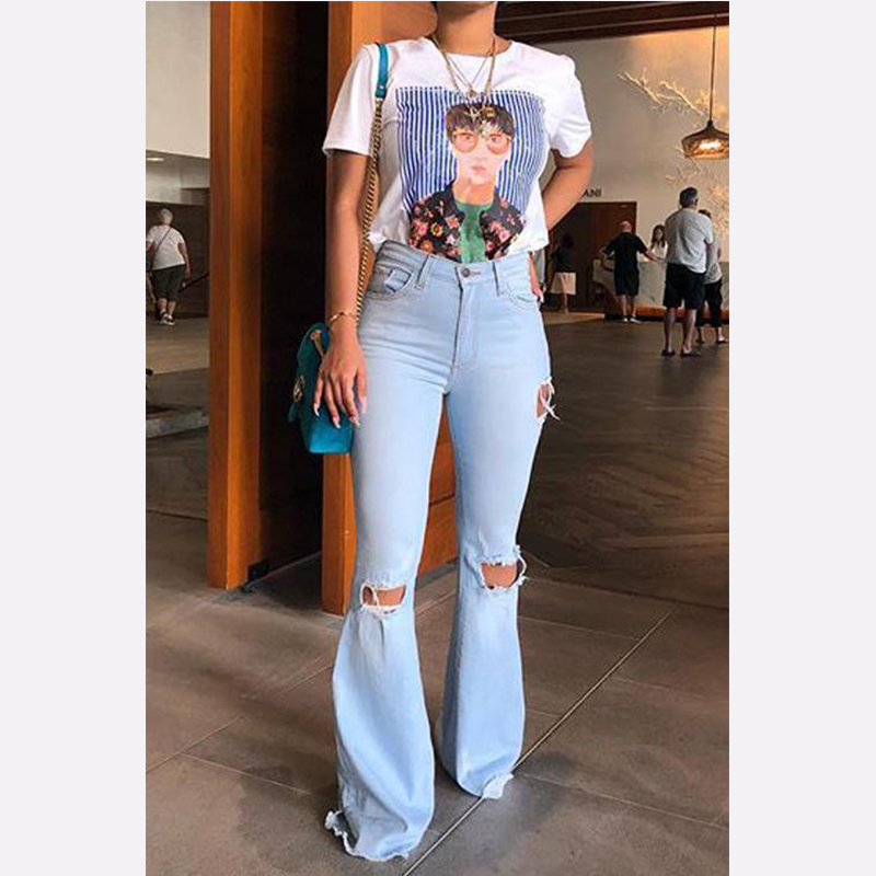2019 High Waist Female Denim Bell Bottom Ripped Jeans For Women Wide Leg Pants Fat Mom Jeans Flare Skinny Jeans Woman Large Size