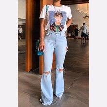 2019 High Waist Female Denim Bell Bottom Ripped Jeans For Wo