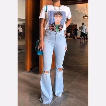 Nowy 2020 lato wysokiej talii dżinsy dla mamy Flare Denim Bell Bottom porwane dżinsy dla kobiet Plus rozmiar kobiet szerokie nogawki obcisłe dżinsy rurki kobieta tanie i dobre opinie KEAIYOUHUO COTTON spandex Kostki długości spodnie Flared jeans Solid Streetwear Spodnie pochodni Plisowana skinny Kieszenie