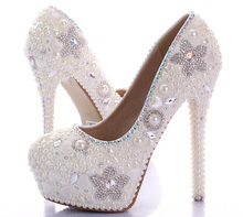 Luxury Spring Beautiful 14cm High Heel Platform Wedding Party Shoes Prom Pumps Sparkling Ivory Pearl Bridal Shoes