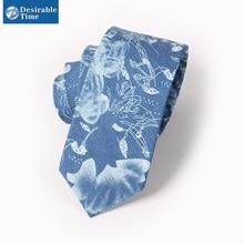Men Narrow Floral Blue Tie 2016 New Designer Handmade Denim Cotton Men's Skinny Neck Ties For Men T013