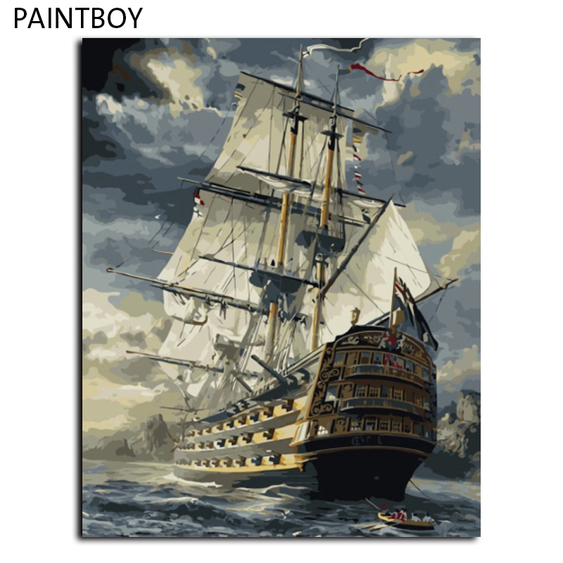 Seascape Boat Painting Frameless Pictures Painting By Numbers Europe Home Decoration DIY Canvas Oil Painting Wall