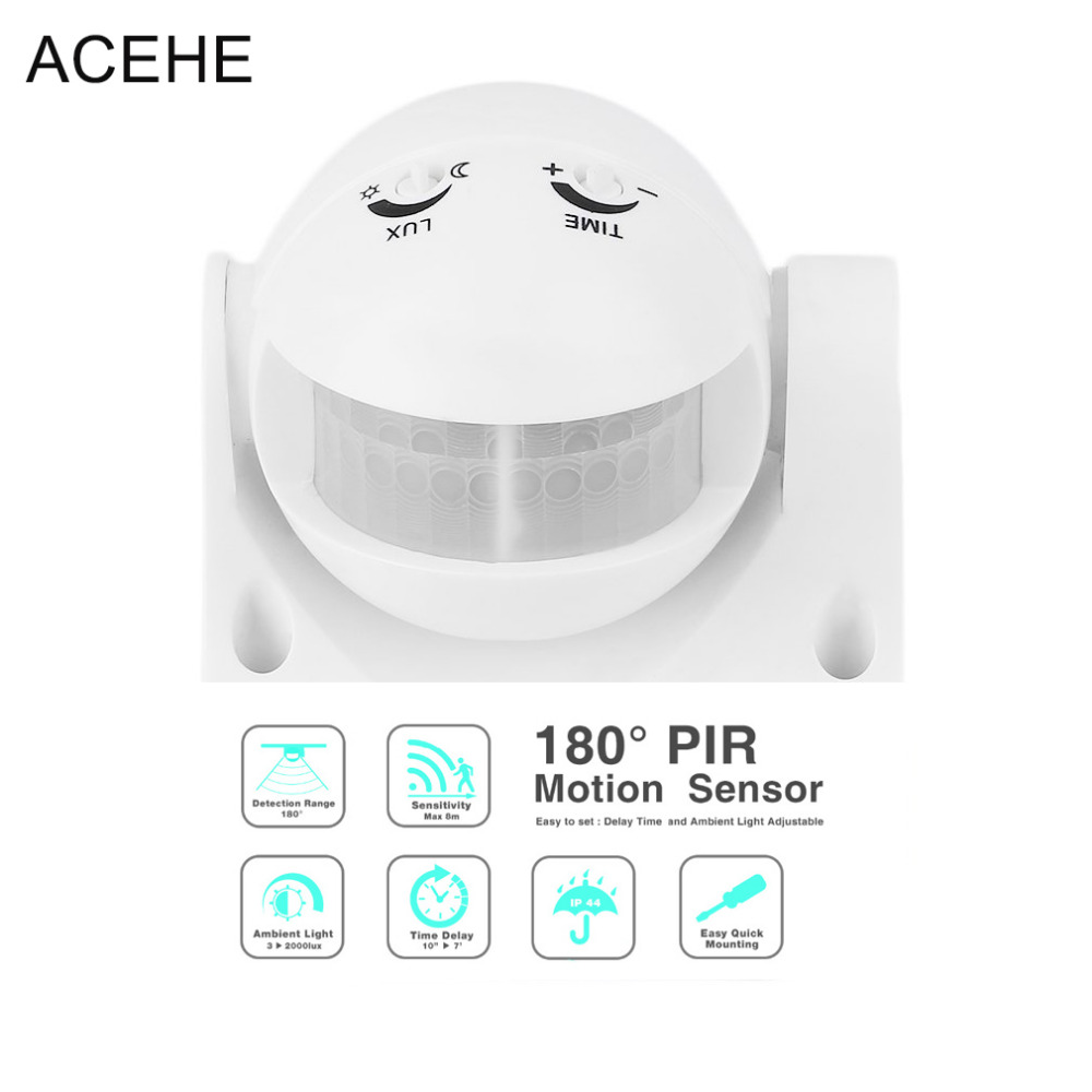 цена на ACEHE 220V 180 Degree Outdoor PIR Infrared Motion Sensor Switch Detector Movement Motion Sensor Light Switch for LED Light lamp