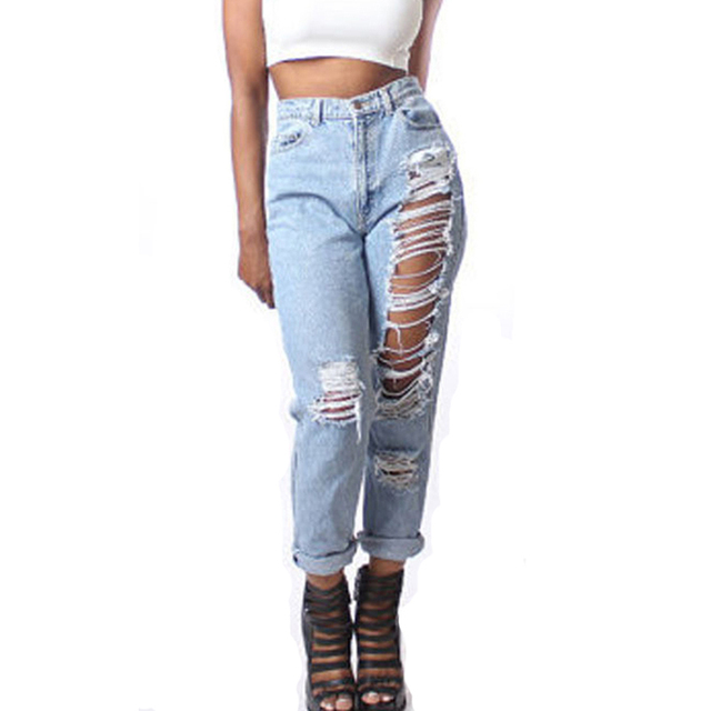 83e8549435e84 80 s Mom Jeans Style High waisted Shredded jeans Fashion Hollow out ripped  jeans women junior denim pants Plus size