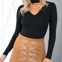 Elegante Frauen Halter Gestrickten Pullover Herbst Frühling Kurze Tops Dünner V-ansatz Jumper Beiläufige Pullover 48 #