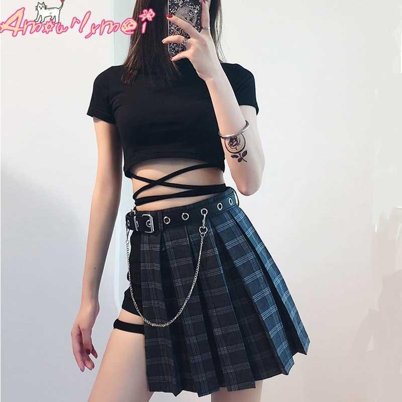 28111d1629b Summer Harajuku Punk Style Plaid Irregular Skirts Women Asymmetrical High  Waist Skirts Fashion Girls Gothic Pleated