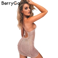 BerryGo Sexy Backless Knitted Bodycon Dress Women Lace Up Bow Hollow Out Summer Dress Elegant Party
