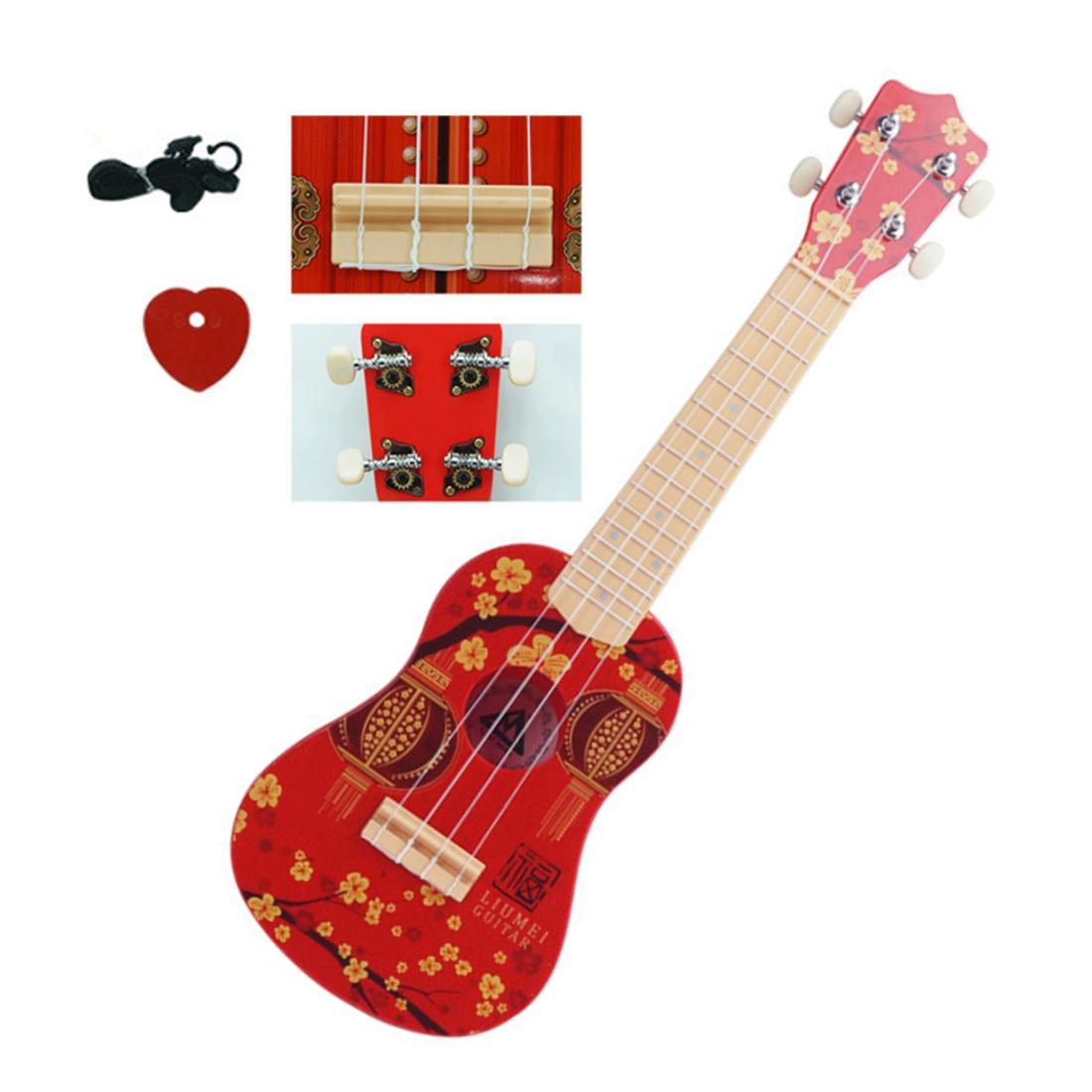58.5*18*8 cm enfants guitare ukulélé jouets avec 4 cordes-rouge éducation précoce Instrument de musique Style Vintage