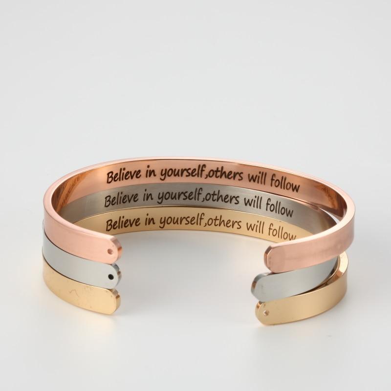 Нержавеющаясталь браслет Believe in yourself, другие будет следовать положительный вдохновляющие цитаты ручной печатью манжеты мантра браслет ...