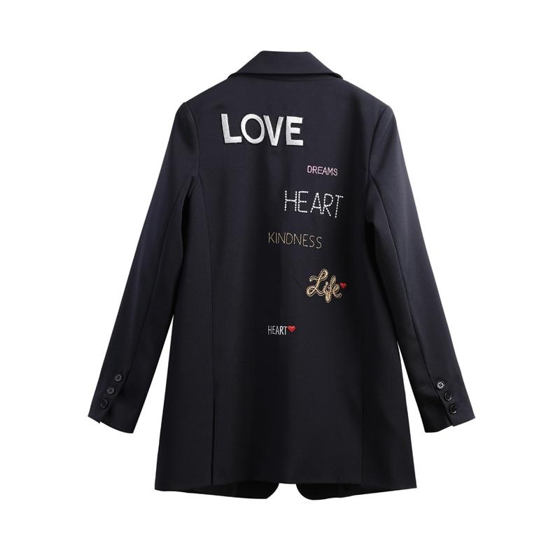 2019 jaqueta feminino blazer manga longa vadim longo estilo bordado pequeno terno jaqueta feminina solto blazers casuais