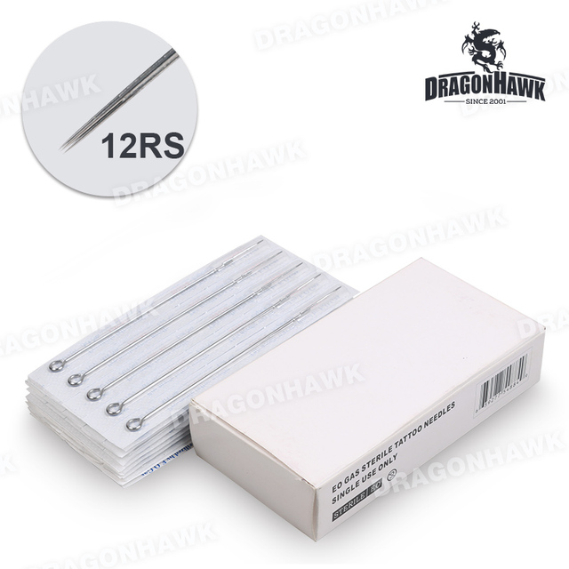 Steriled 50 pcs Disposable Tattoo Needles 12RS Sizes Round Shade Tattoo Tips Tattoo Supply