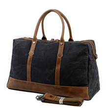 88803K Retro Wax Waterproof Canvas Tote Bag with Crazy Horse Leather Shoulder Bag Men's Luggage bag
