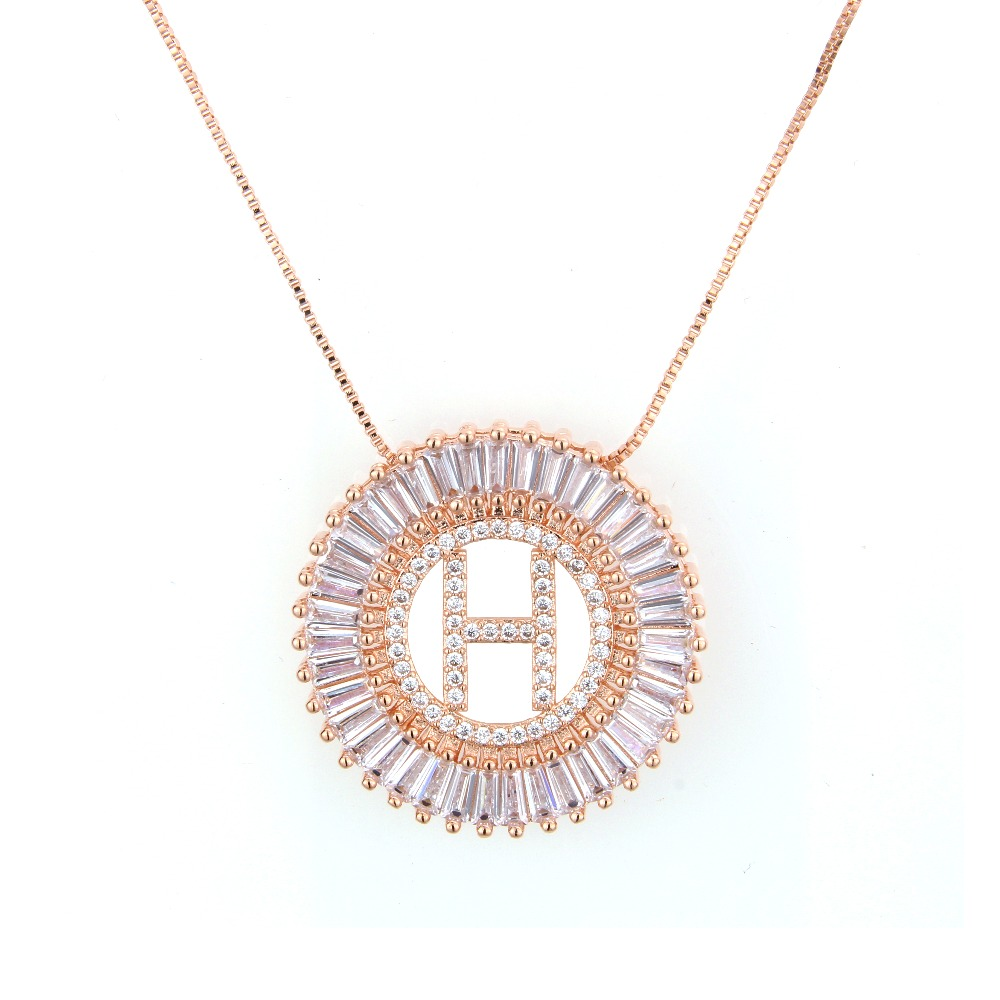 LINDA FOLHEADOS Fashion Jewelry Round Cubic Zircon 4 Colors Gold Letter Link Chain Pendant Necklace Unisex Gift Anniversary in Pendant Necklaces from Jewelry Accessories