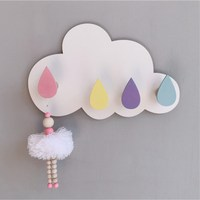 INS Nordic Wooden Cloud Hook Kids Room Decoration Ornament with 4 Hooks Wood Clothes Hanger Key Holders Towel Racks Wall Decor