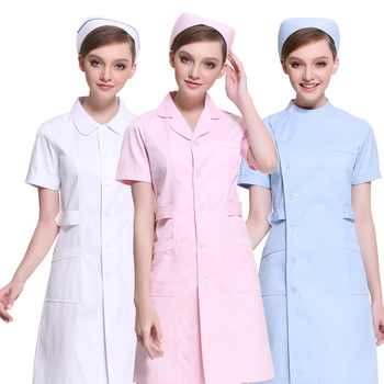 Nurse clothing long sleeve female pink white coat winter short-sleeved beautician student hospital nurse service overalls suit women s lab coat mock wrap doctor nurse beautician jacket medical uniform long sleeves notched collar nurse dress
