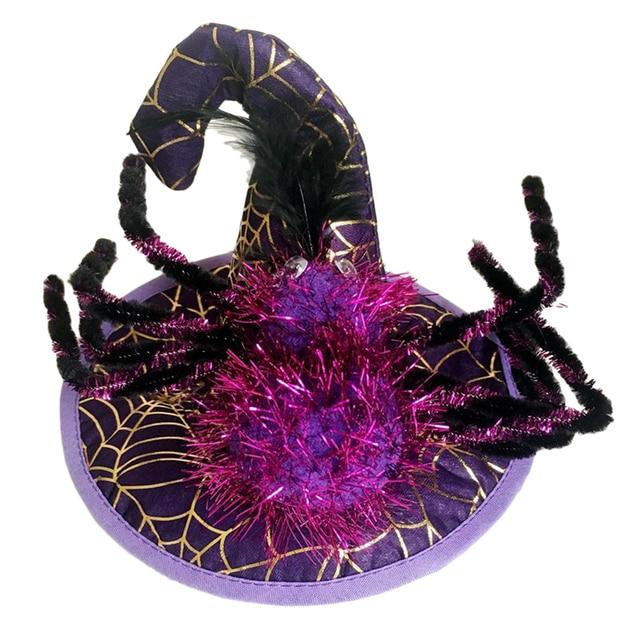 PETFORU Spider Pumpkin Hat Pet Dog Cat Cosplay Witcher Cap Costume for Halloween Festival Decoraction