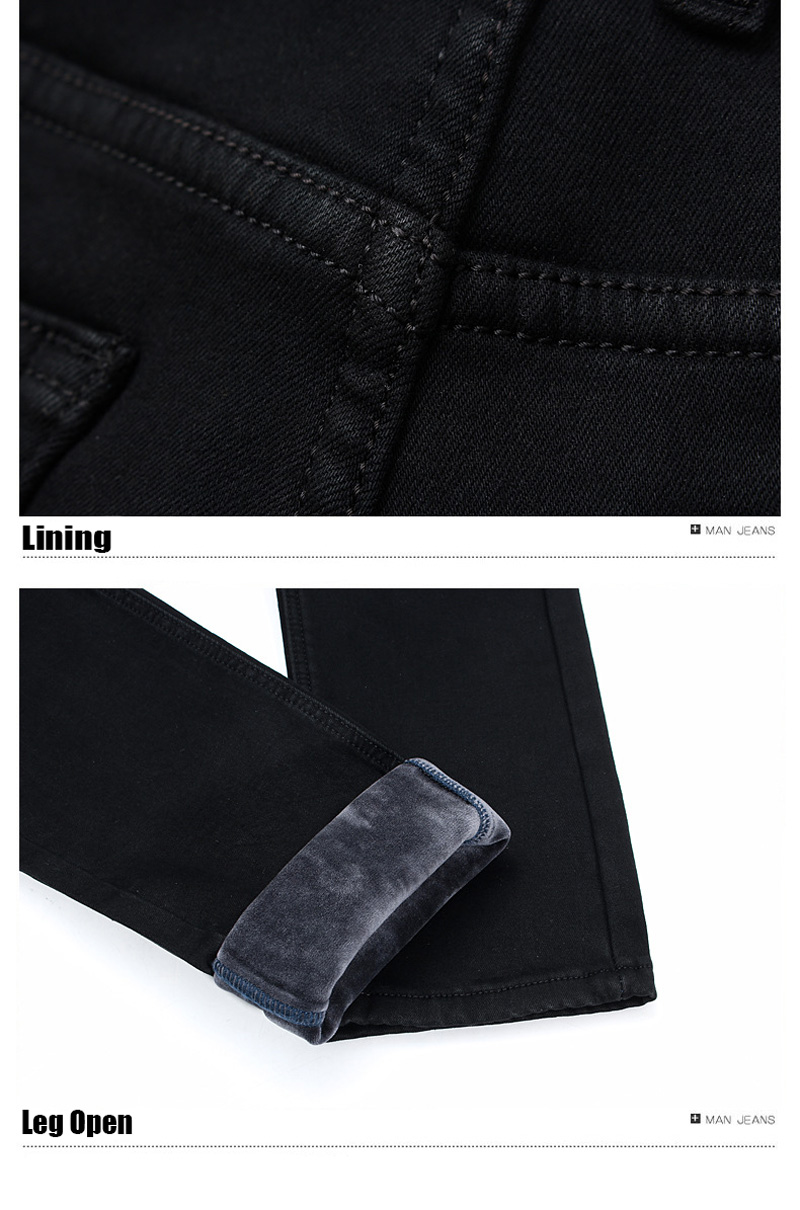 2020 New Trousers Grey Fleece Men Clothes  Black Elasticity Warm Thinker Winter Jeans Busines With Or No Velvet 2 Model Jeans 30