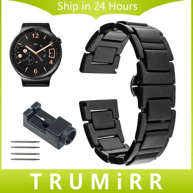 18 мм Керамический Ремешок для Huawei Watch/Fit Honor S1 Asus ZenWatch 2 Женщин WI502Q Butterfly Пряжка Ремешок Ремешок браслет