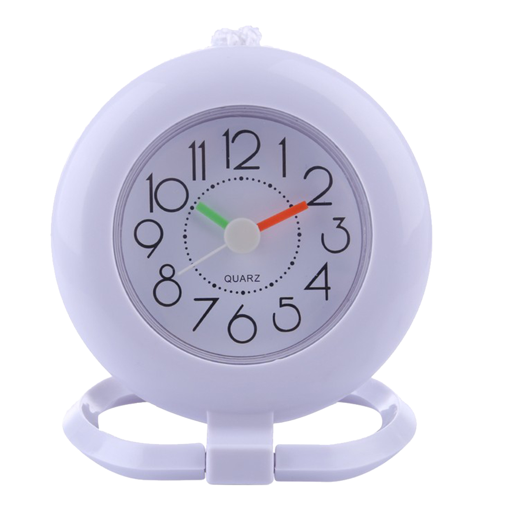 Mini Wall Clock Bathroom Shower Time Desk Clock With Towel Hanger Ring Water Resistant Plastic Screen Portable For Travel
