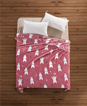 Cartoon Blue Pink Bear Bull Terrier Printed Flannel Fabric Baby kid Bed Blanket Cover for Sofa/TV/ Travel/ Car Plaids 200X150cm