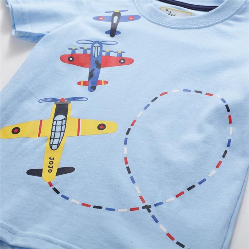 Jumping meters Boys Cartoon aircrafts T shirts Summer Cotton Kids Tees Print character Short sleeve Children Clothes Boy T shirt