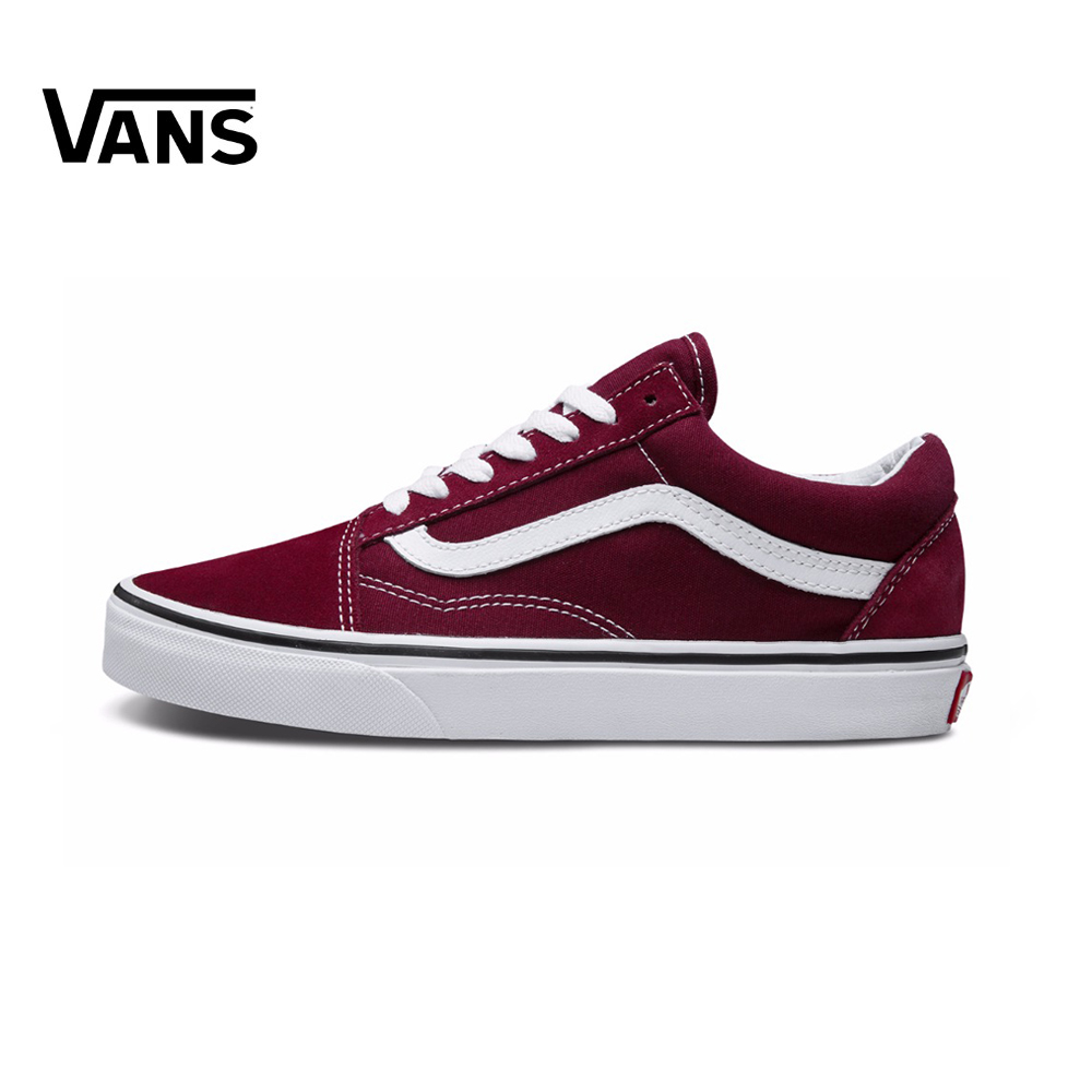 Original Vans Old Skool Red Colour Low-Top Men & Women's Skateboarding Shoes Sport Canvas Sneakers