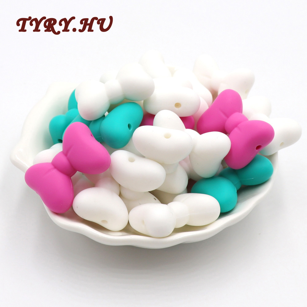 TYRY.HU 100PC Bow Tie Food Grade Silicone Beads for DIY Baby Teething Pendant Accessories Safety BPA Free Oral Care Teether Toy