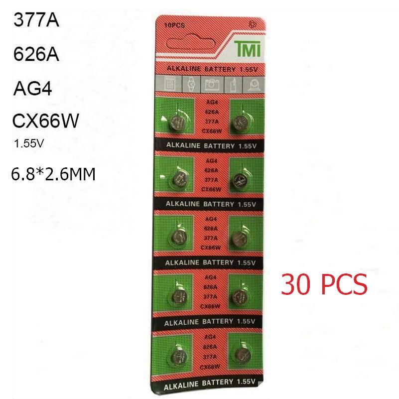 30 PCS AG4 LR626 626A 377A 6.8*2.6 Mm 1.55V Alkaline Watch Accessories Button Cell Coin 377 Watch Battery For Watch Calculator
