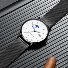 Business Quartz Minimalism Design Watch Fashion Luminous Men Watches Mesh Strap WristWatch Boyfriend Gift Relogio Masculino
