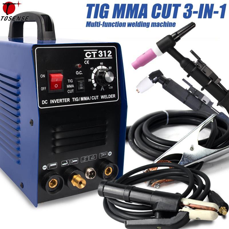 CT312 TIG/MMA/CUT Saldatore TIG, Inverter 3 in 1 Macchina di Saldatura, 120A TIG/MMA 30A CUT, Multifunzione Portatile di Impianti di Saldatura