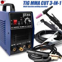 CT312 TIG/MMA/coupe TIG soudeuse, onduleur 3 en 1 Machine à souder, 120A TIG/MMA 30A coupe, équipement de soudage multifonction Portable