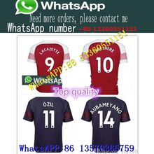 b7a787fe123 New 2018 Arsenal Soccer Jersey 2019 LACAZETTE 11 Ozil 14 AUBAMEYANG 10  WILSHERE MKHITARYAN Ramesy XHAKA