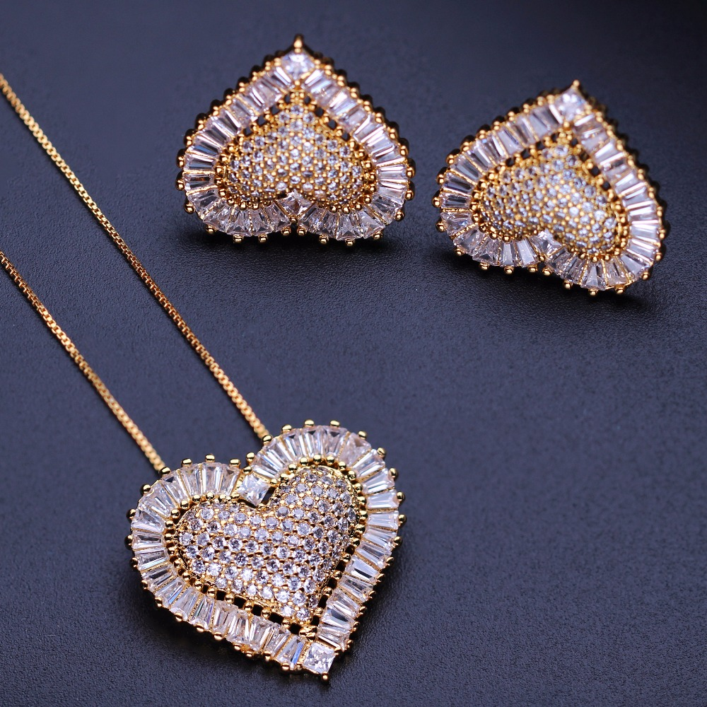 Heart Shape Jewelry set Full Micro Cubic Zirconia Necklace Stud Earrings Set For Women Fashion Jewelry gift GY0011722W rhinestone decorated ball shape stud earrings set