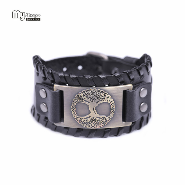 My Shape Tree of Life Vintage Wrap Leather Man Bracelets With Antique Bronze Metal Charm Viking Bracelet Jewelry 4