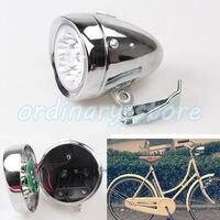 Motocicleta Cromo Prata 6 LED Da Bicicleta Do Vintage Bicicleta Ciclismo Farol Dianteiro Luz Retro Cabeça Nevoeiro Lâmpada Da Noite Com a Função de Strobe