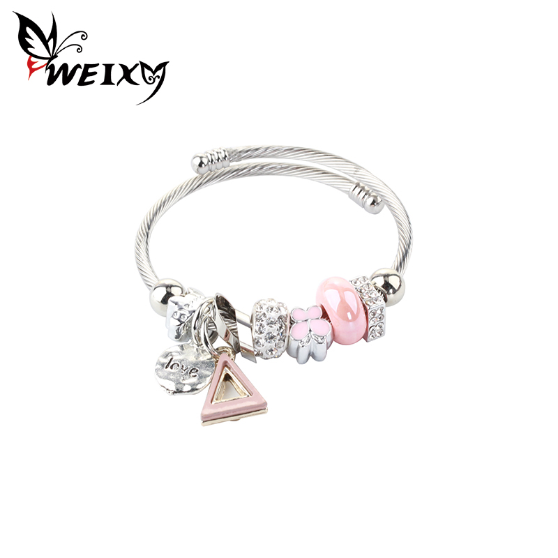 WEIXY Fashion Ethnic Bangles Beads Heart Pendant Stainless Steel Opened Cuff Charm Adjustable Bracelets Jewelry Female Gift
