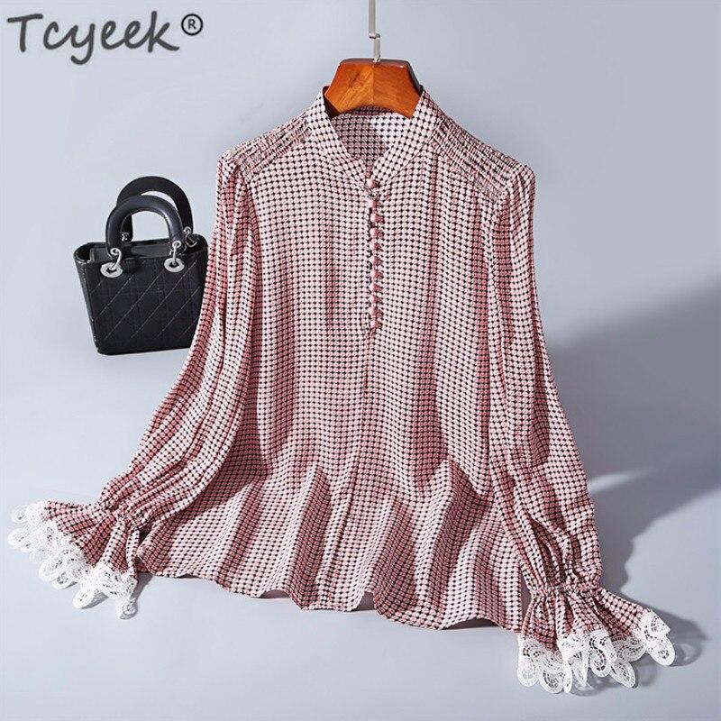 Tcyeek vraie Blouse en soie femmes hauts et chemisiers printemps mode coréenne vêtements élégants dames chemises Streetwear Blusas LWL1620