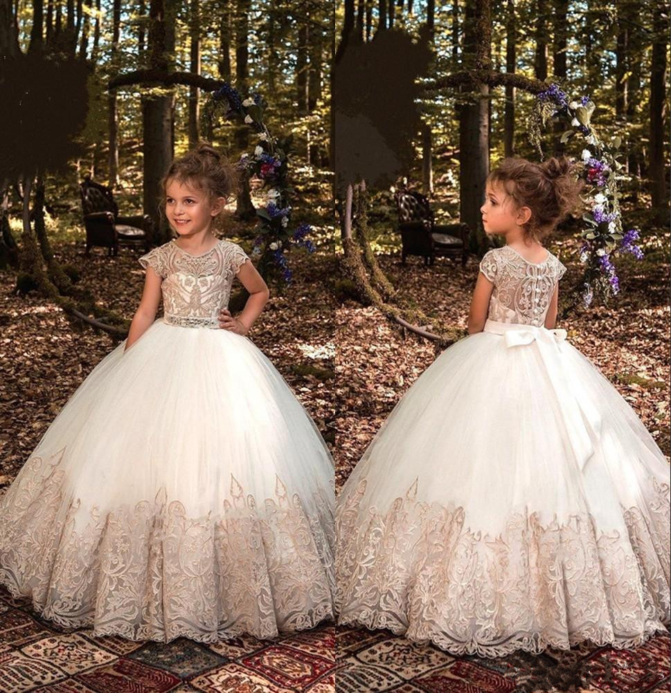 Princess Ball Gowns   Flower     Girl     Dresses   for Wedding 2019 Cap Sleeve Champagne Lace First Communion   Dresses   for Kids Custom Made
