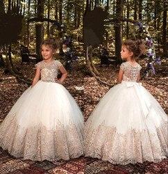 Prinses Baljurken Bloem Meisje Jurken voor Bruiloft 2019 Cap Sleeve Champagne Kant Eerste Communie Jurken voor Kinderen Maat Gemaakt