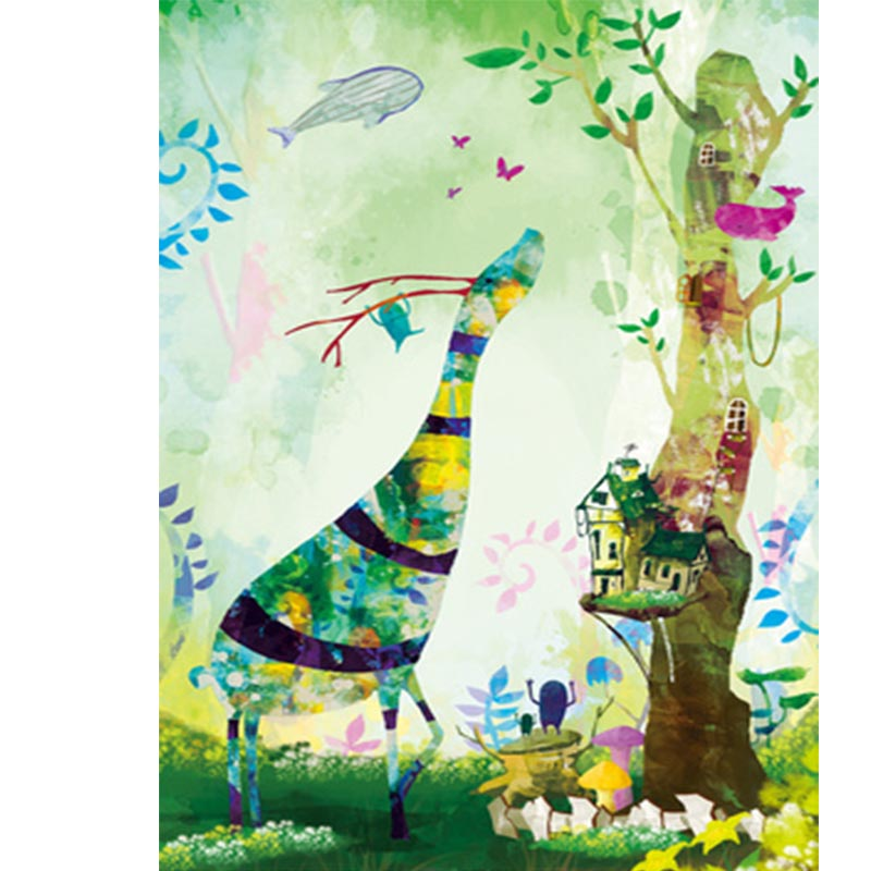 1000 pieces Green Giraffe landscape wooden puzzle diy abstract Art learning painting puzzle for Children Educational Toy gif