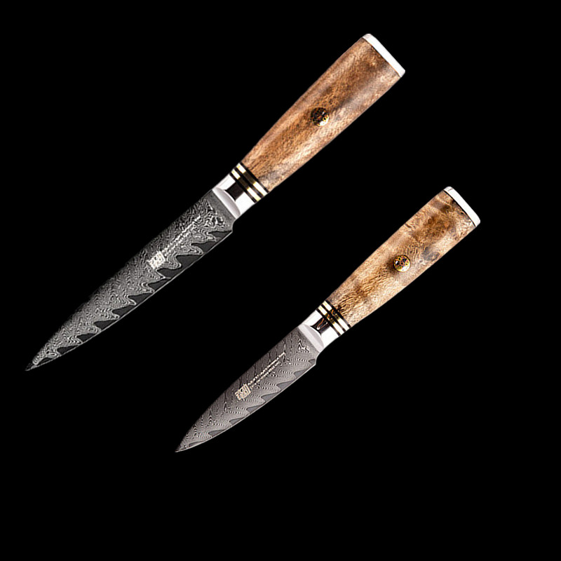 Japanese Aus10 Damascus Stainless Steel Sapele Wood Handle Professional Utility Knife Set 67 Layer Damascus Chef