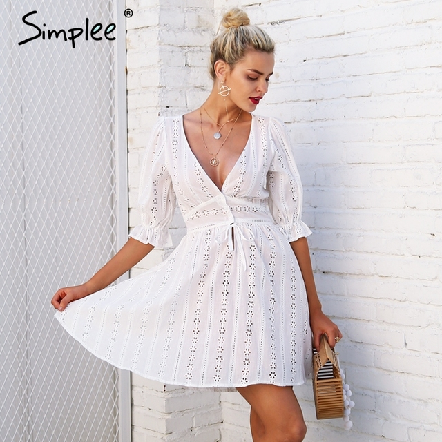Simplee Sexy V шеи выдалбливают кружевное платье Женщины Половина рукава связать осеннее платье Женский Повседневное кнопка зима белое платье Vestido