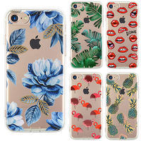Ultrathin Soft Silicon Case For IPhone 7 Case IPhone 7 Plus Plants Leaves Flower Flamingo Lips