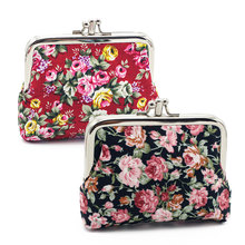 Fashion Women Coin Purse Lovely Flower Print Ladies Coin Bags Metal Button Coin Pouch Wallet and Purse for Women