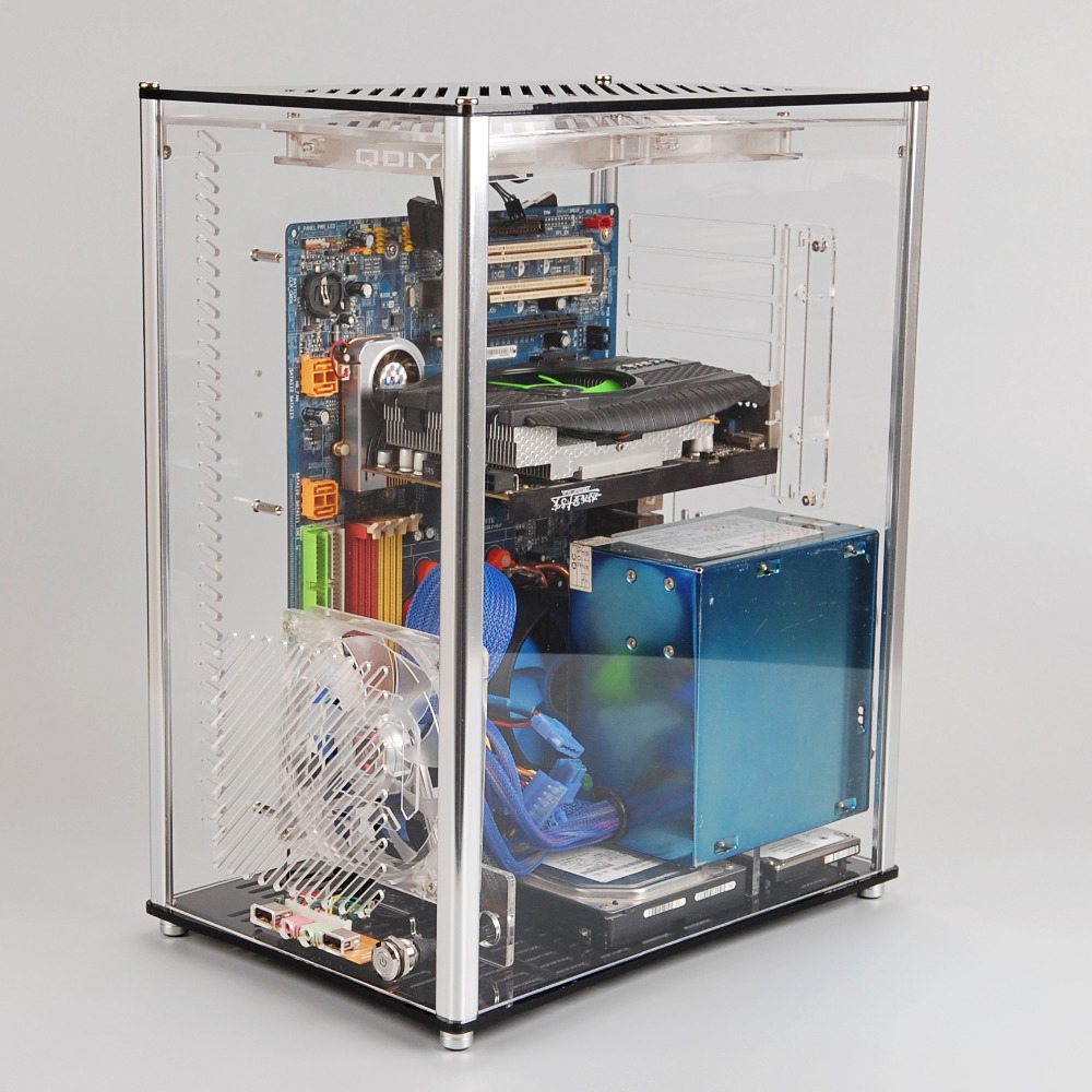 Qdiy Pc A009 Atx Transparent Computer Case Pc Case Water Cooled