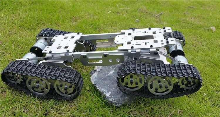 Châssis de réservoir d'équilibre d'amortissement châssis de Robot de camion-citerne RC voiture Arduino 393mm * 206mm * 84mm corps en alliage de CNC + 4 pistes en plastique + 4 moteurs