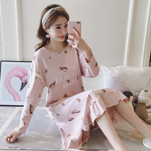 Female autumn cotton new casual long-sleeved large size nightdress cartoon long home service spring and wearable
