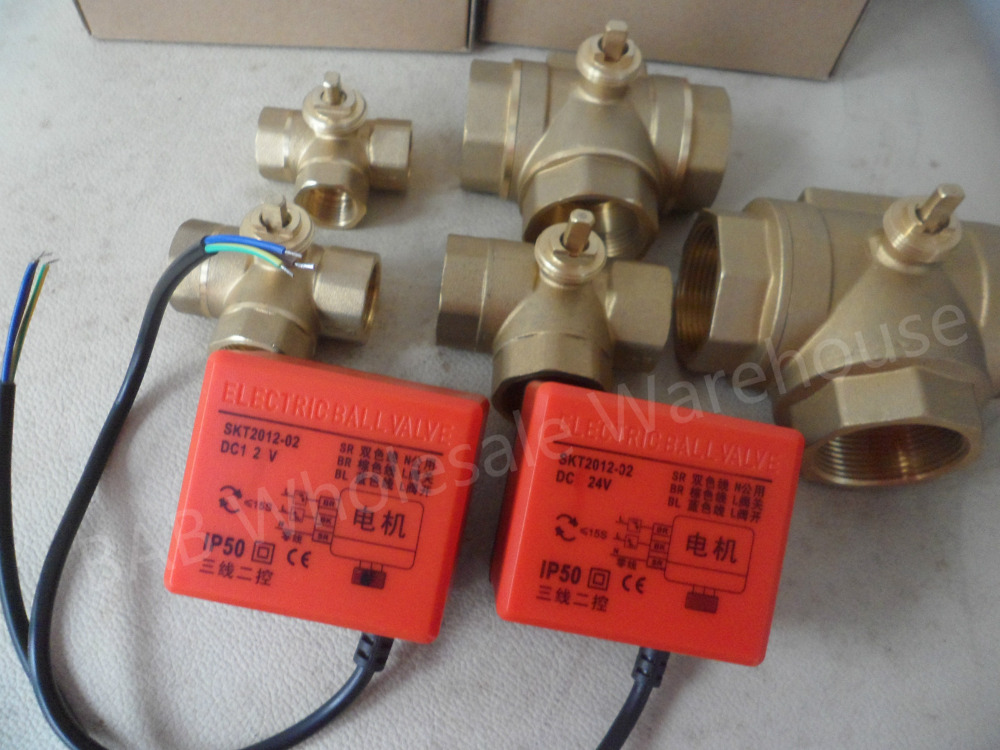 DC24V DC12V DN15(G1/2) to DN50(G2) 3 way 3 wires brass electric actuator motorized ball valve for solar water heater fan coil