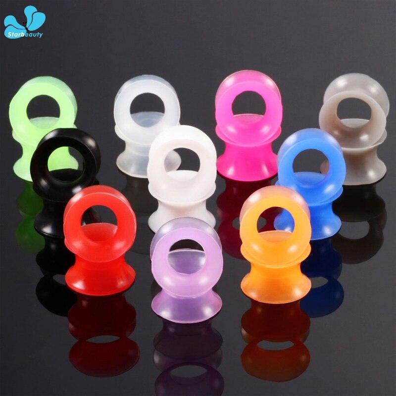 2Pcs  Silicone Flexible Thin Double Flared Ear Plugs Flesh Tunnel Ear Gauge Expander Stretcher Earlets Earrings Ear Piercing