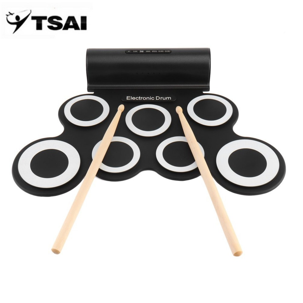 TSAI Electronic Roll Drum Pad Built-In Speakers Digital Drum 9 Silicon Pad With Foot Pedals USB Charging Musical Instrument support usb midi colorful portable roll up electronic drum set 9 silicon pads built in speakers with drumsticks foot pedals